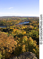 Peak Foliage in New England - A shot of New England during...