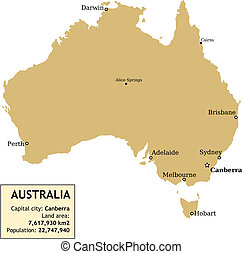 Australia - Map of Australia with all important cities and...