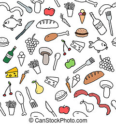 Food background - Seamless pattern with food and beverage...