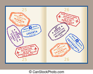 Passport stamps - Colorful visa stamps (not real) on...
