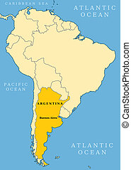 Argentina locator map - country and capital city Buenos...