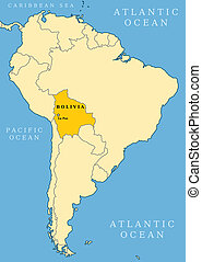 Bolivia locator map - country and capital city La Paz Map of...