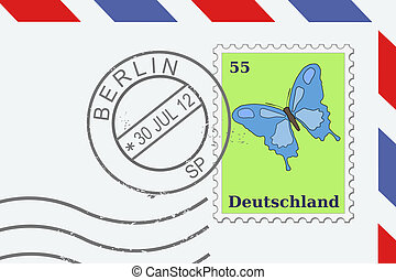 Berlin - Letter from Germany - postage stamp and post mark...
