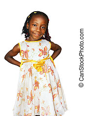 Cute African girl on white - Cute young black African girl...