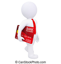 3d man carries a credit card. Isolated render on a white...