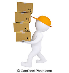 3d man carries boxes. Isolated render on white background