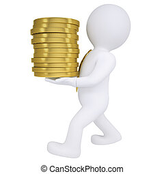 3d man carries a gold coin. Isolated render on a white...