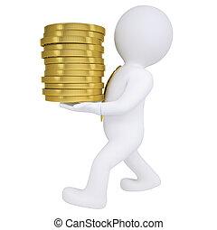 3d man carries a gold coin
