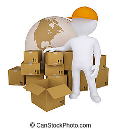 3d man standing near the boxes. Isolated render on a white...
