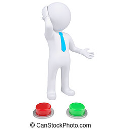 3d man standing near the red and green buttons. Isolated...