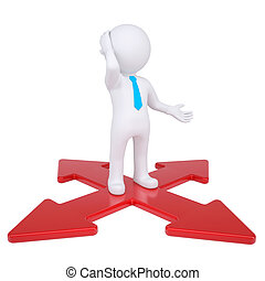 3d man at the crossroads Isolated render on a white...