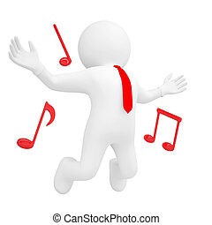 3d man jumping up and music sign. Isolated render on a white...