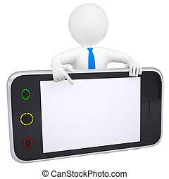 3d man points a finger at the screen smartphone. Isolated...