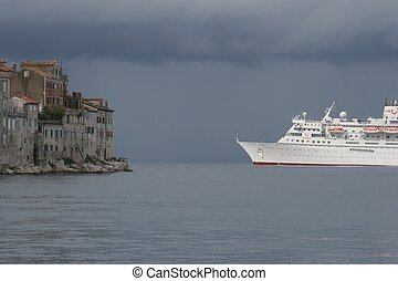Cruiser in front of Rovinj, Croatia - Cruiser in front of...