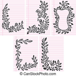 Flower Vines Frame Boarder set - Sketch Flower Vines Frame...