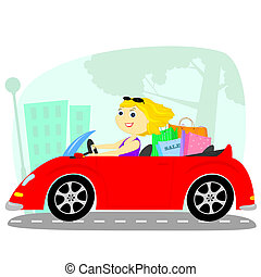 the blonde in the car - blonde rides on a red cabriolet...