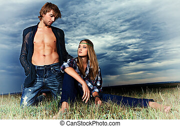 fashion models - Romantic young couple in casual clothes...