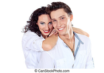 happy couple - Portrait of a happy smiling young people...