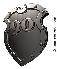 number on metal shield - metal shield with the number ninety...