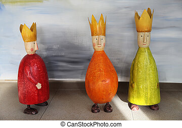 three wise men - Toy colorful Figurines of three Kingsthree...