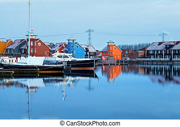 colorful buildings at Groningen marina - colorful buildings...