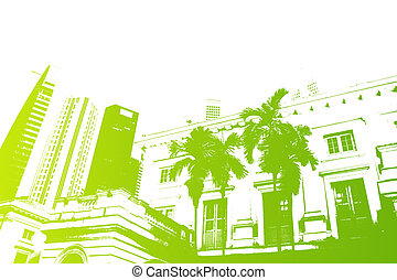 Green Trendy and Modern City Life Abstract