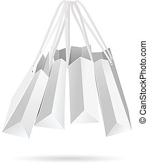 Hanging white paper bags - Paper bags isolated on white...