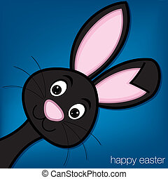 Happy Easter - Hiding Easter Bunny card in vector format
