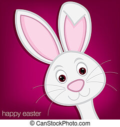 Happy Easter! - Hiding Easter Bunny card in vector format.