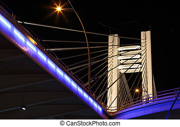 Illuminated Basarab Bridge - Detail of Basarab Overpass...