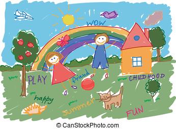 bambini, stile, disegno, vettore