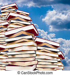 stacked with books background