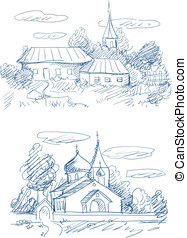 countryside landscapes with church and houses vector