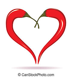 Two chili peppers forming a shape of heart Hot lover symbol...