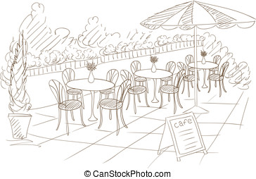summer street cafe with menu plate vector