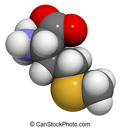 Methionine (Met, M) amino acid, molecular model. Amino acids...