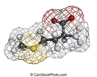 Methionine Met, M amino acid, molecular model Amino acids...