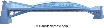 bright blue glass and metal bridge vector