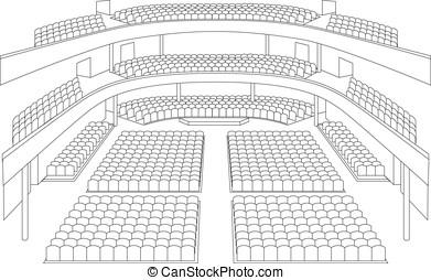 内部, 劇場, ホール, 計画, ベクトル
