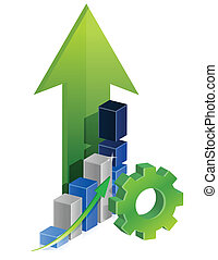 gears teamwork business graph illustration design over a...