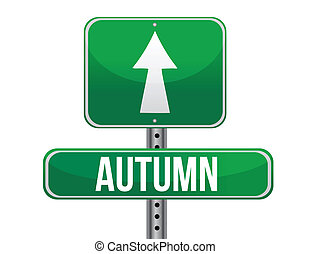 autumn green traffic road sign