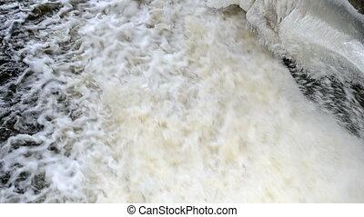 water stream dam winter