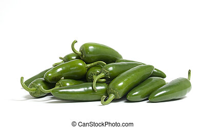 Jalapeno Peppers - A bunch of hot jalapeno peppers on white...