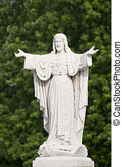 Jesus Christ Statue - Selective focus on the marble statue...