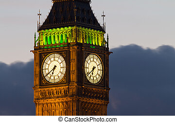 Big Ben. Detail. Evening - A fragment of the famous tower of...