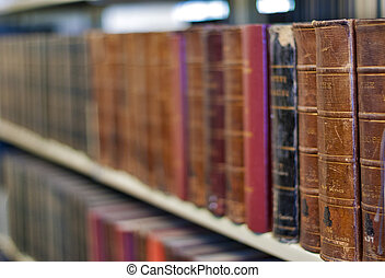 Old books on a shelf at the Library - Shallow Depth of field...