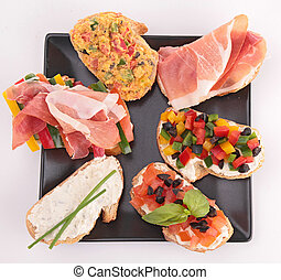 assortment of bruschetta