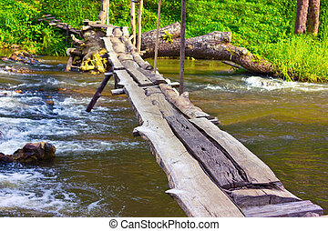 Native bridge made of bamboo and wo - Scrap wood left over...