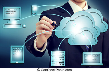 Cloud Computing Concept - Businessman drawing cloud...