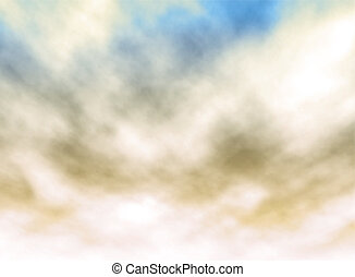 Colored sky - Editable vector illustration of white clouds...